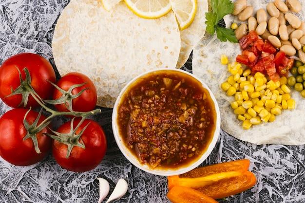 Variedade de comida saudável mexicana