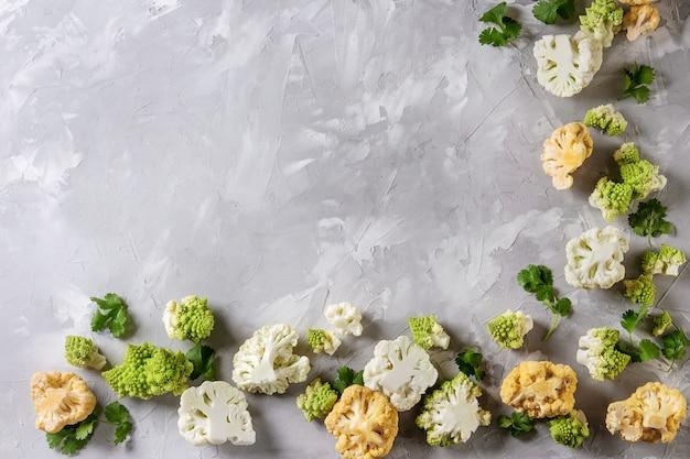 Variedade de couve-flor e rabanete