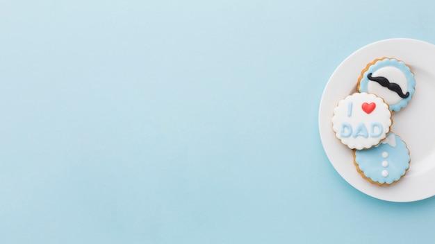 Variedade de dia dos pais com biscoitos