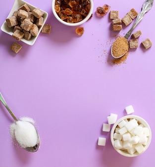 Variedade de diferentes tipos de açúcar