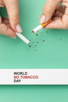 Variedade de elementos de dia sem tabaco
