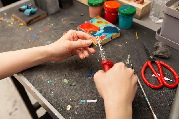 Variedade de elementos de elaboração de trabalhos artesanais