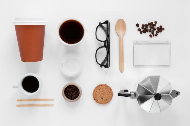 Variedade de elementos de marca de café