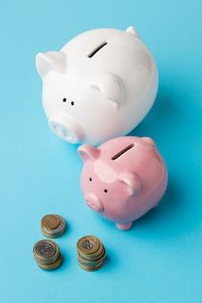 Variedade de elementos financeiros de alto ângulo