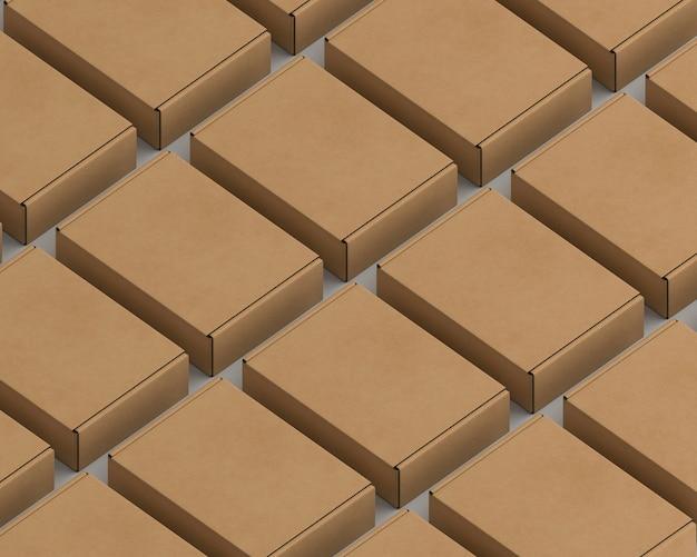 Variedade de embalagens de papelão de alto ângulo