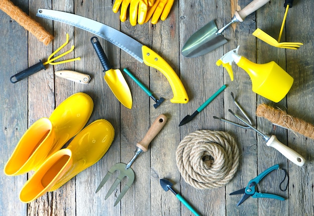 Variedade de ferramentas de jardim na madeira