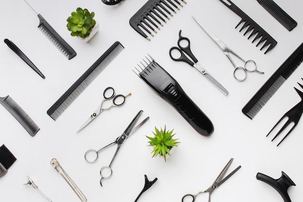Variedade de ferramentas profissionais para o cabelo