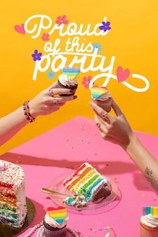Variedade de festa do dia do orgulho mundial com mensagem