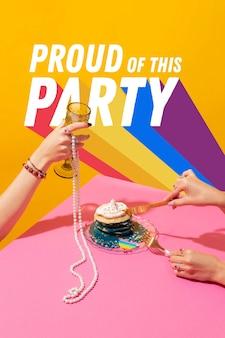 Variedade de festa do dia do orgulho mundial