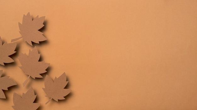 Variedade de folhas de outono de vista superior com espaço de cópia
