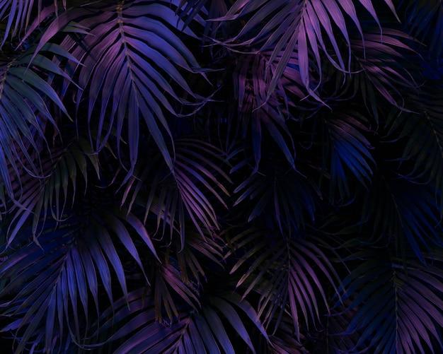 Variedade de folhas de palmeira coloridas 3d