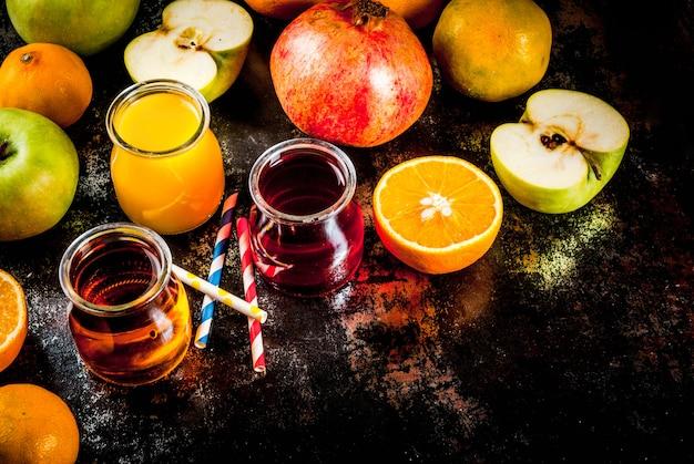 Variedade de frutas e sucos frescos