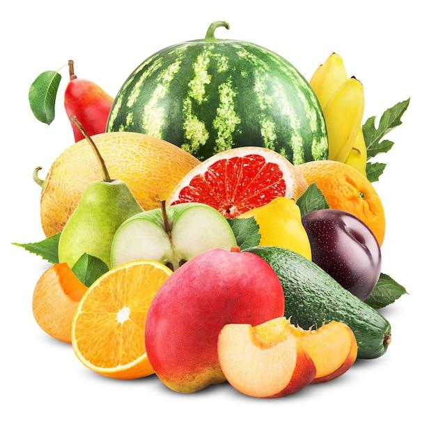 Variedade de frutas exóticas isoladas em branco