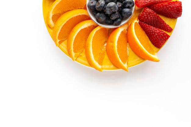 Variedade de frutas frescas vistas de cima