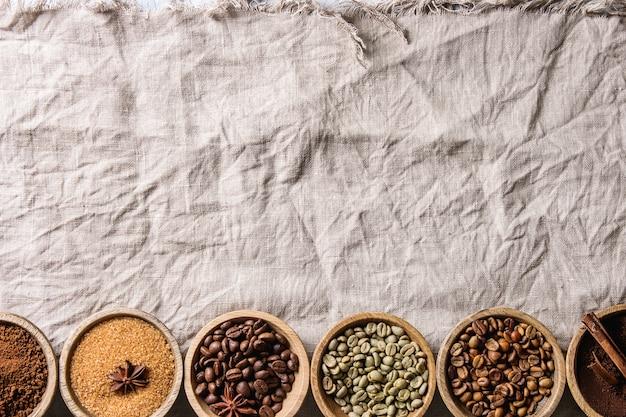Variedade de grãos de café