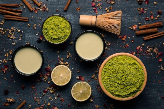 Variedade de ingredientes matcha de chá asiático