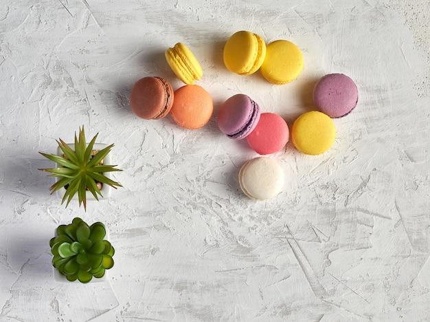 Variedade de macarons redondos cozidos multicoloridos em branco