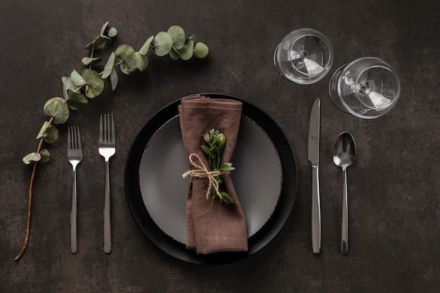 Variedade de mesa com planta acima da vista
