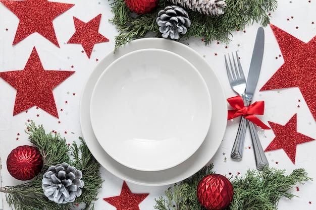 Variedade de mesa festiva de natal plana