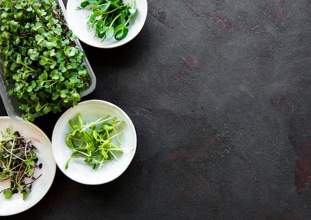 Variedade de micro verdes em fundo de pedra preta, cópia espaço, vista superior. rabanete vermelho, ervilhas verdes, girassol e outros brotos em tigelas. estilo de vida saudável