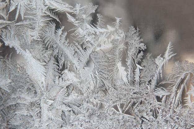 Variedade de padrões de geada em uma janela de inverno