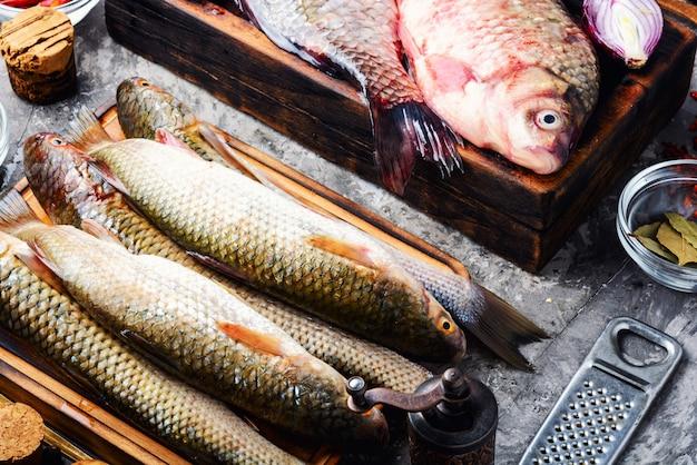 Variedade de peixe fresco cru