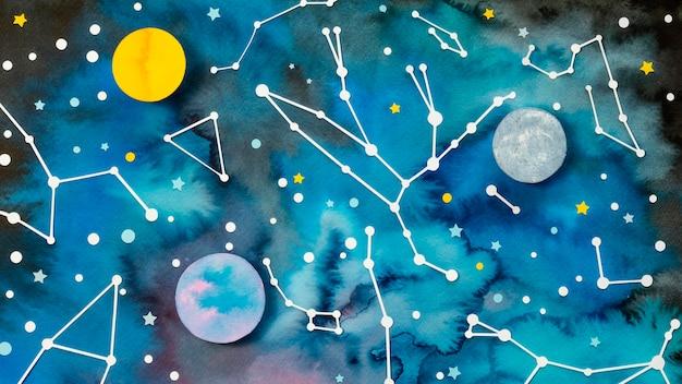 Variedade de planetas de papel criativo