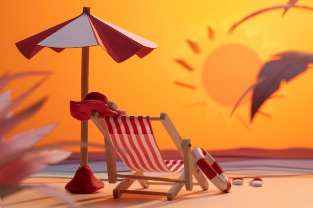 Variedade de praia de verão feita em papel