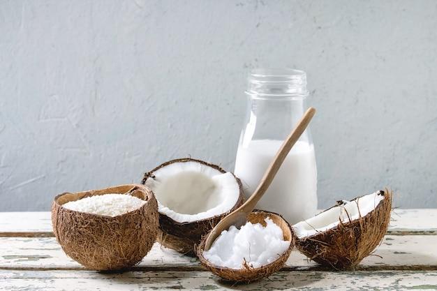 Variedade de produtos de coco
