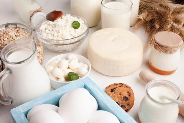 Variedade de produtos lácteos e biscoitos