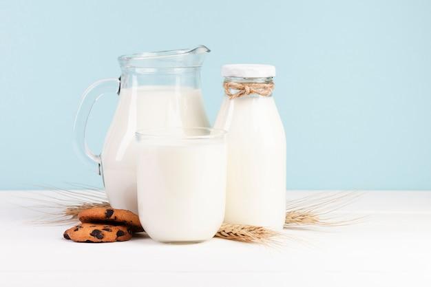 Variedade de recipientes de vidro para leite