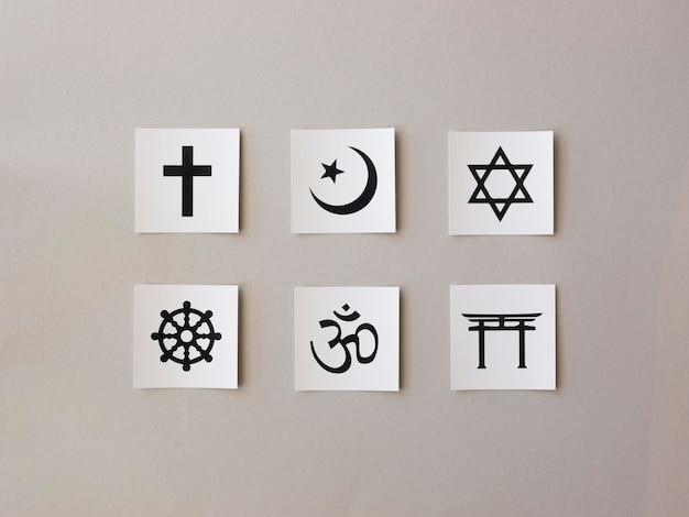 Variedade de símbolos religiosos