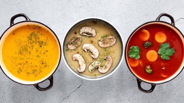 Variedade de sopas vegetarianas orgânicas