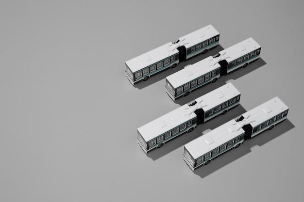 Variedade de transporte público de alto ângulo
