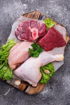 Variedade de várias carnes cruas