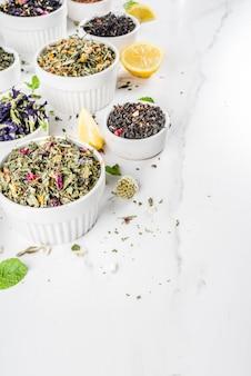 Variedade de vários chá seco