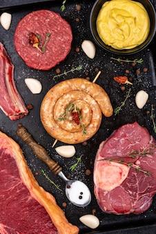 Variedade de vários tipos de carne