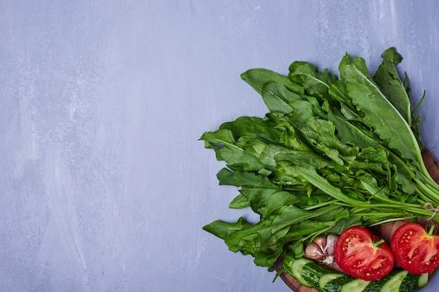 Variedade de vegetais em azul