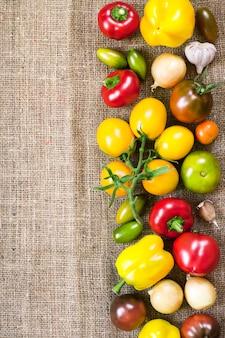 Variedade de vegetais frescos coloridos em fundo de saco