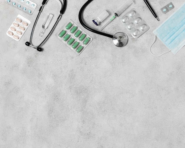 Variedade de vida morta de saúde plana leiga com espaço de cópia
