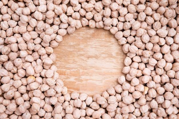 Variedade de vista superior de grão de bico orgânico