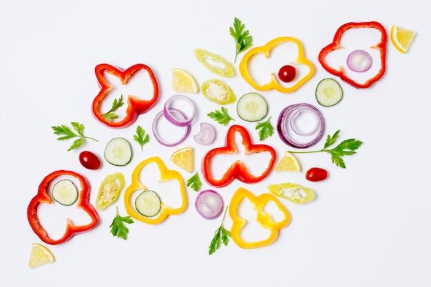 Variedade de vista superior de vegetais orgânicos