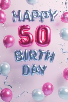 Variedade festiva de 50 anos com balões