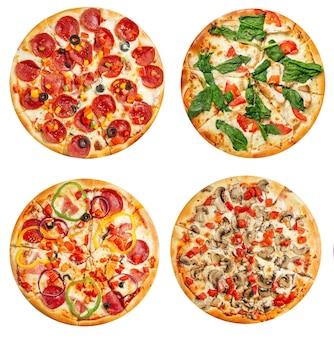 Variedade isolada de design de menu de colagem de pizzas