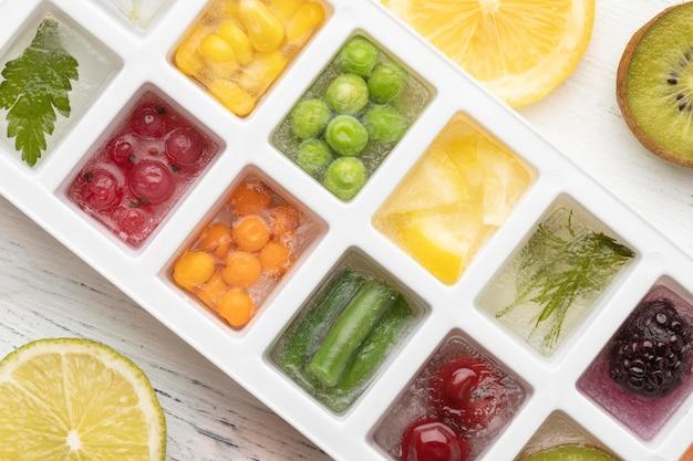 Variedade plana de alimentos congelados