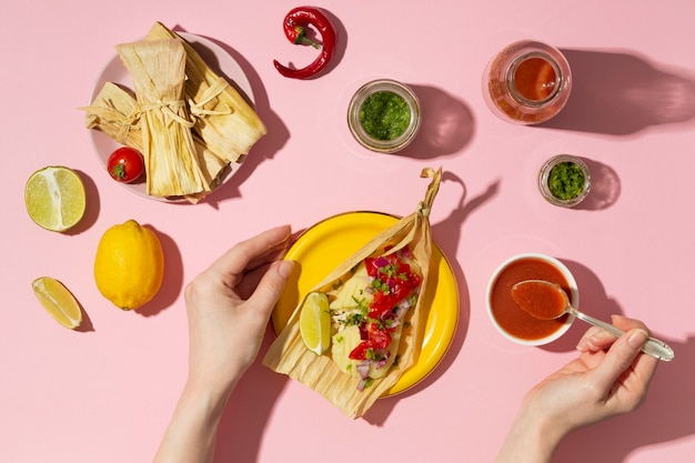 Variedade plana de ingredientes para tamales