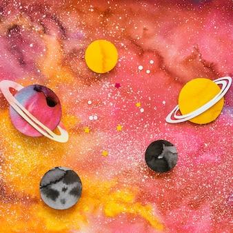 Variedade plana de planetas de papel criativos