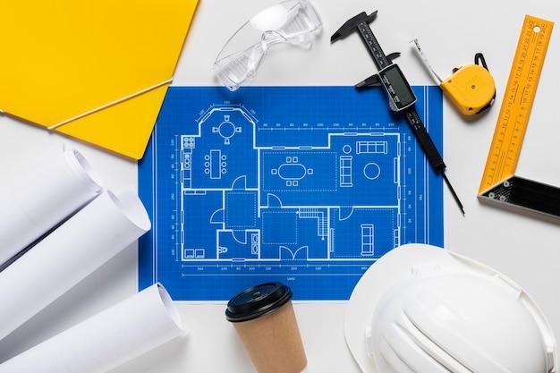 Variedade plana leiga de diferentes elementos do projeto arquitetônico