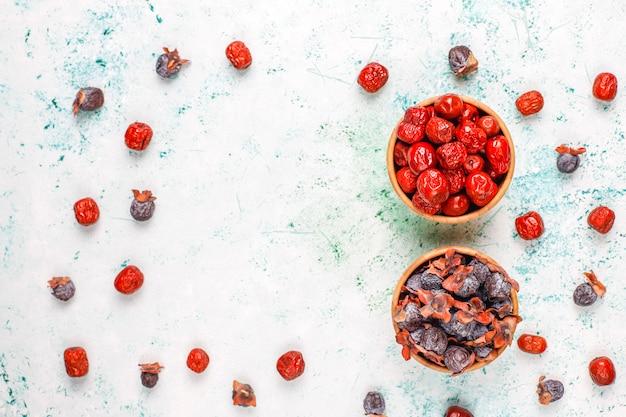 Variedade saudável frutas secas, vista superior