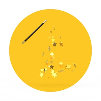 Varinha mágica com brilhos em um fundo branco e amarelo. renderização 3d
